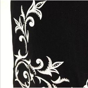 Cache Skirts - Cache 8 Med Pencil Skirt Black White Asymmetric